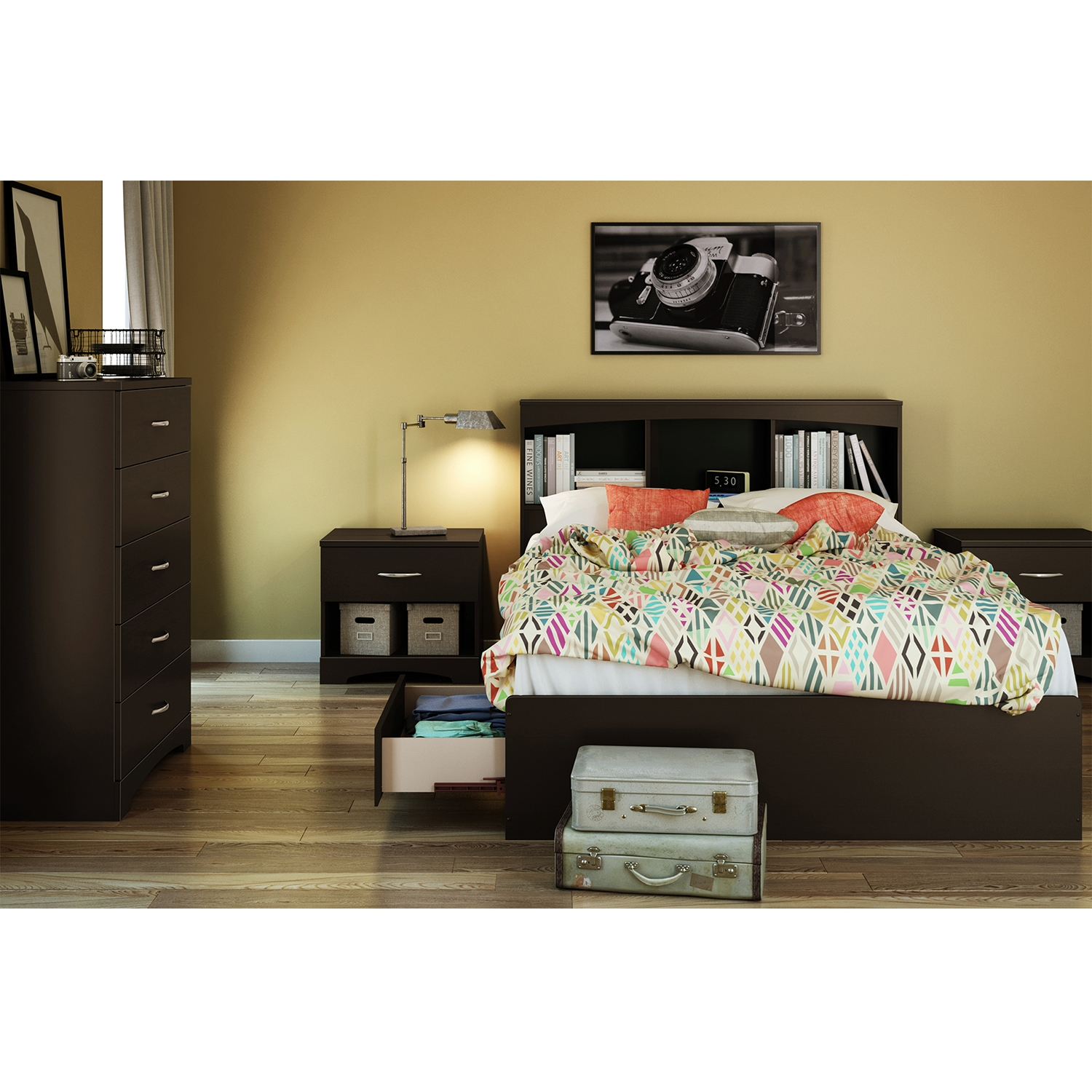 Step One Full Mates Bed - 3 Drawers, Bookcase Headboard, Chocolate - SS-10037