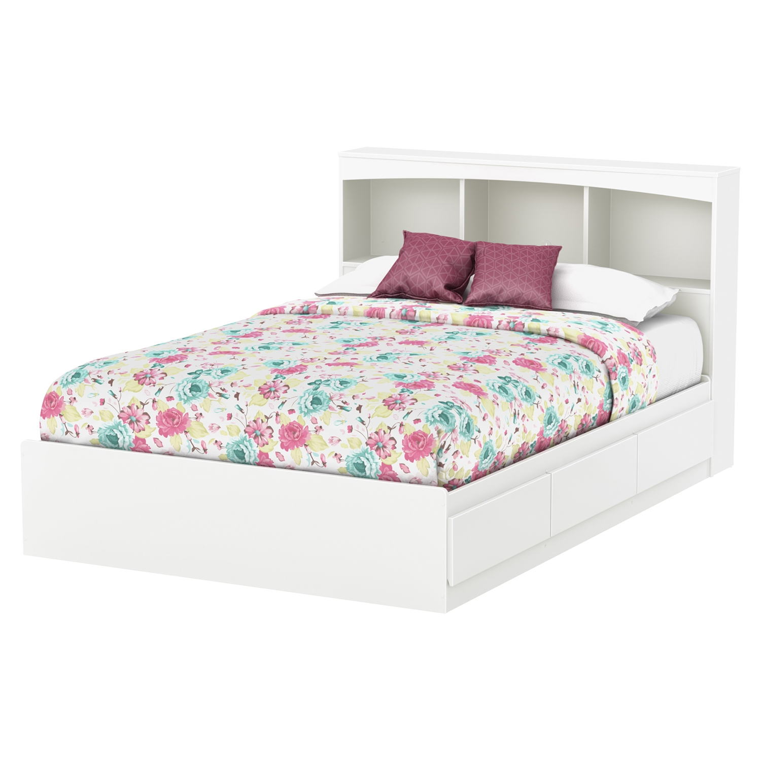 Step One Full Mates Bed - 3 Drawers, Bookcase Headboard, Pure White - SS-10039