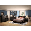 Vito Queen Mates Bed - 2 Drawers, Bookcase Headboard, Pure Black - SS-10040