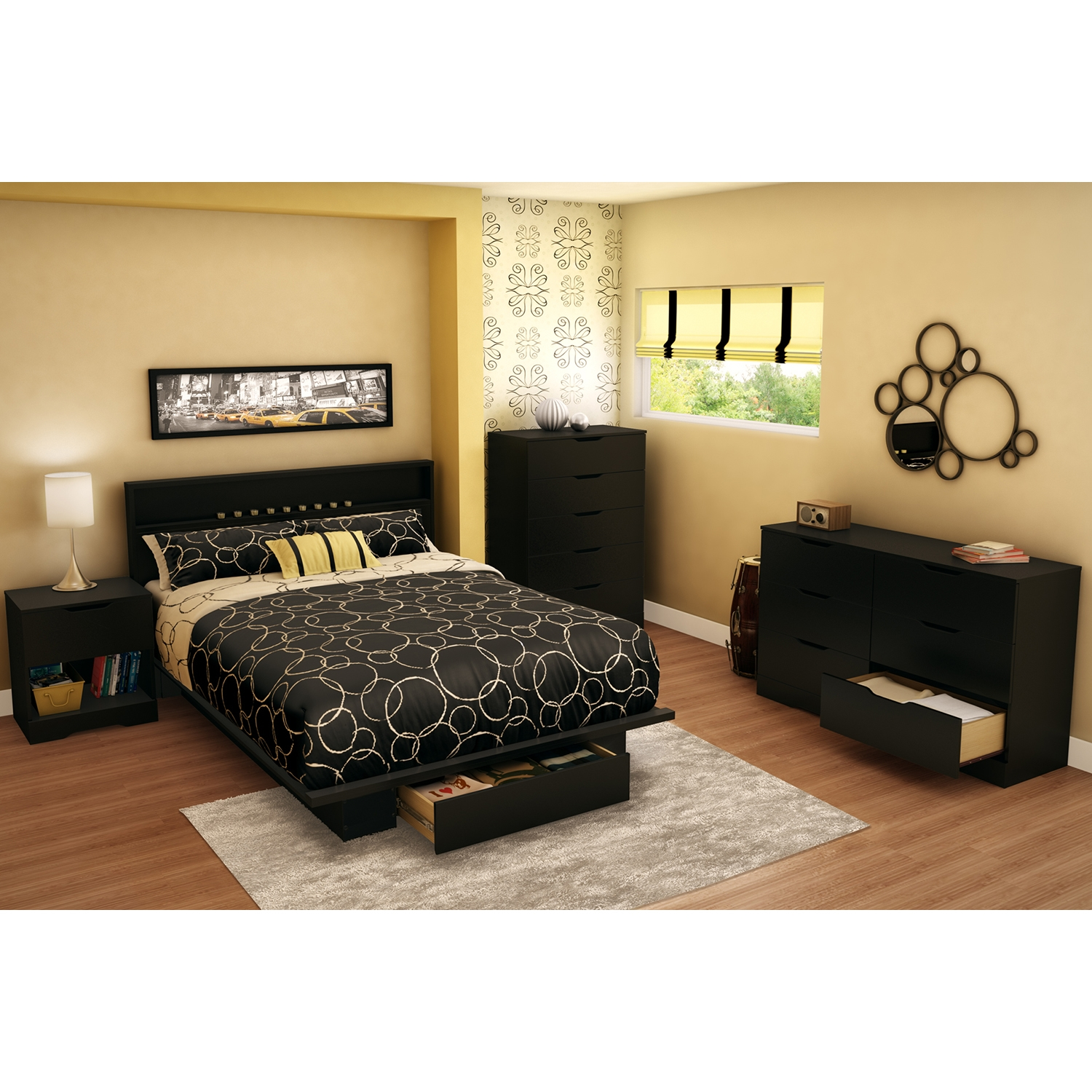 Holland Full/Queen Platform Bed with Headboard - 1 Drawer, Pure Black - SS-10042