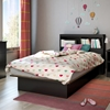Libra Twin Platform Bed - Bookcase Headboard, Pure Black - SS-10046