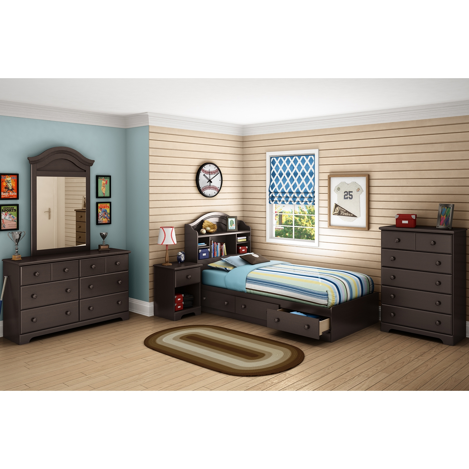 Summer Breeze Twin Mates Bed - 3 Drawers, Bookcase Headboard, Chocolate - SS-10048