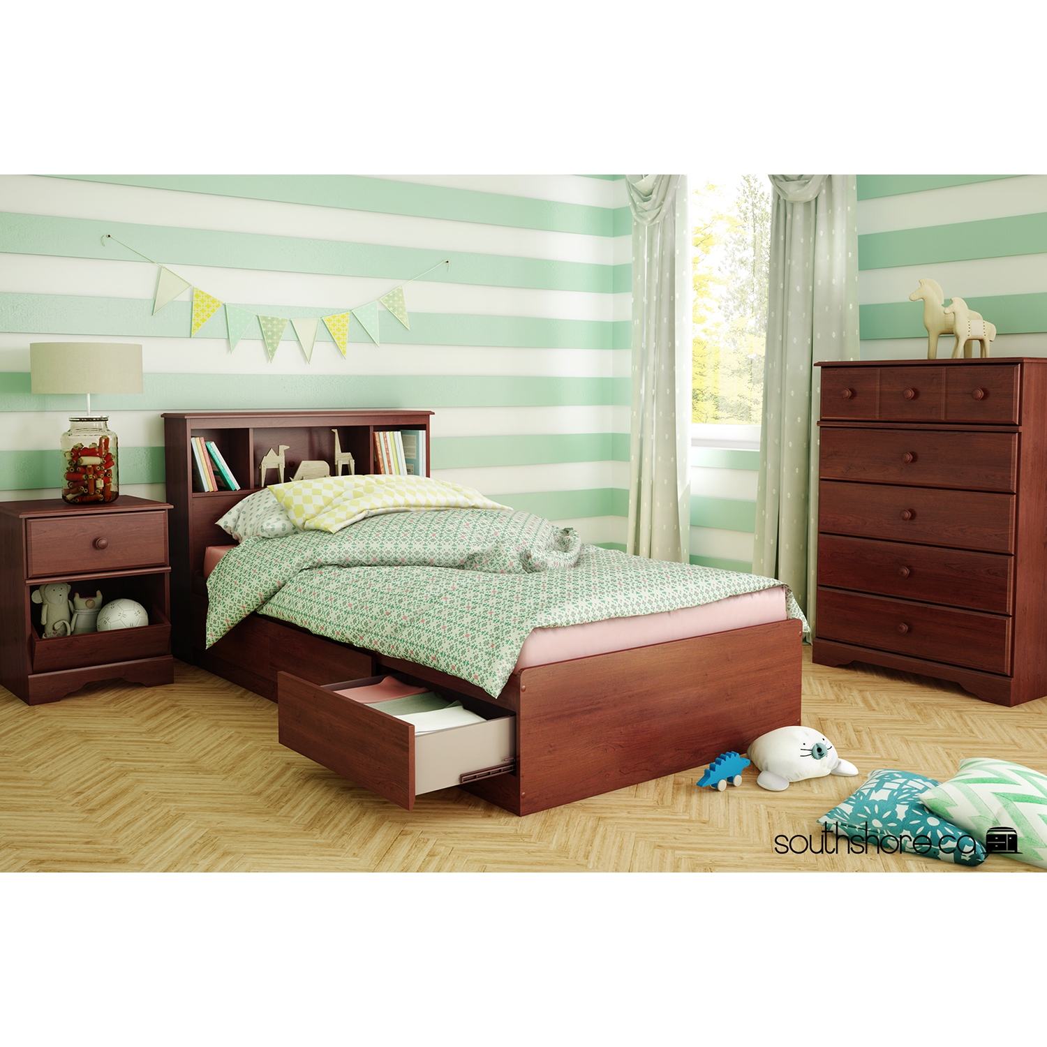 Little Treasures Mates Bed - 3 Drawers, Royal Cherry - SS-3846-B