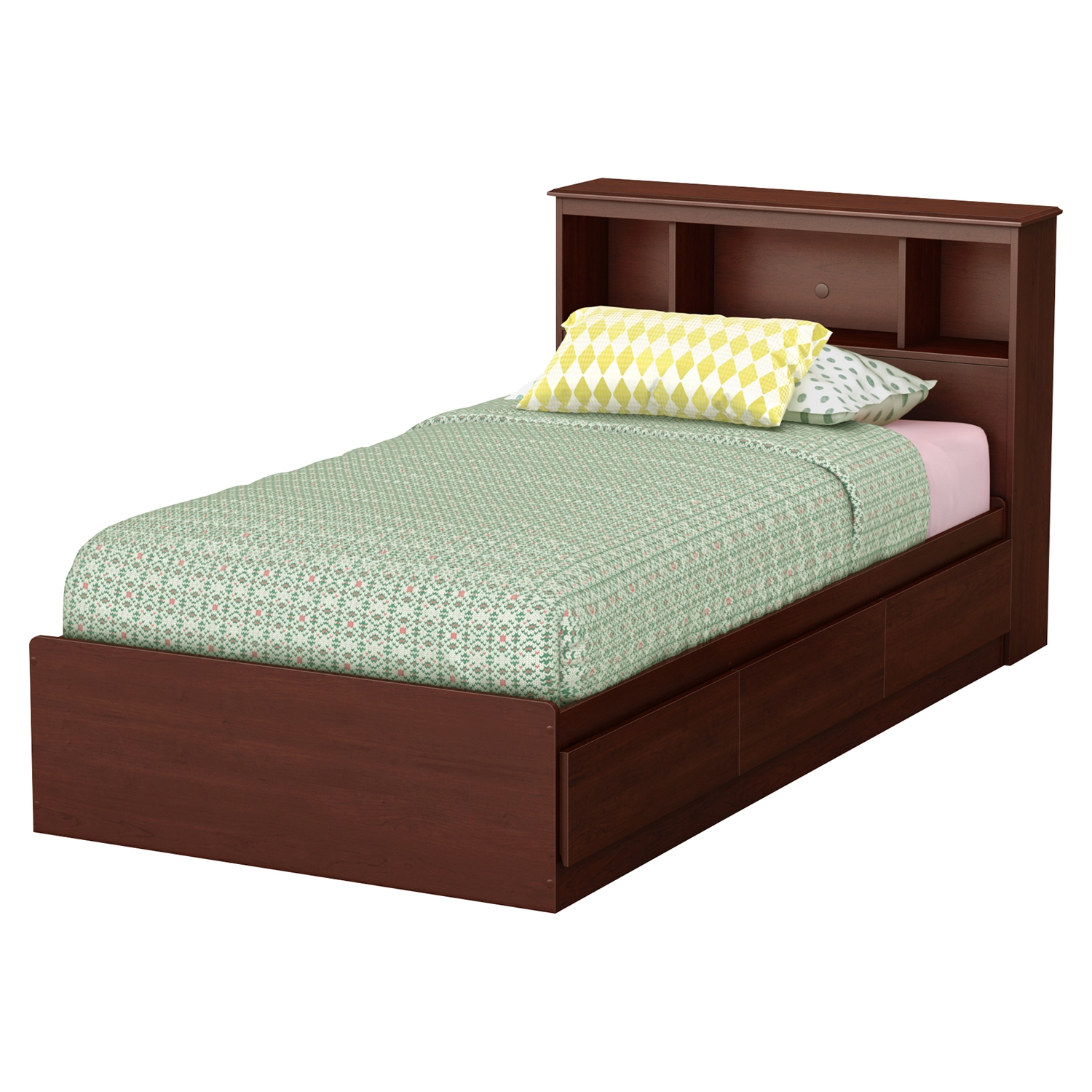 Little Treasures Twin Mates Bedroom Set - Bookcase Headboard, Royal Cherry - SS-10051-BR