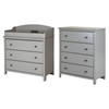 Cotton Candy Changing Table with 4 Drawers Chest - Soft Gray - SS-10057