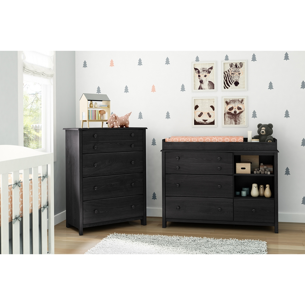 Little Smileys Changing Table And 4 Drawers Chest Gray