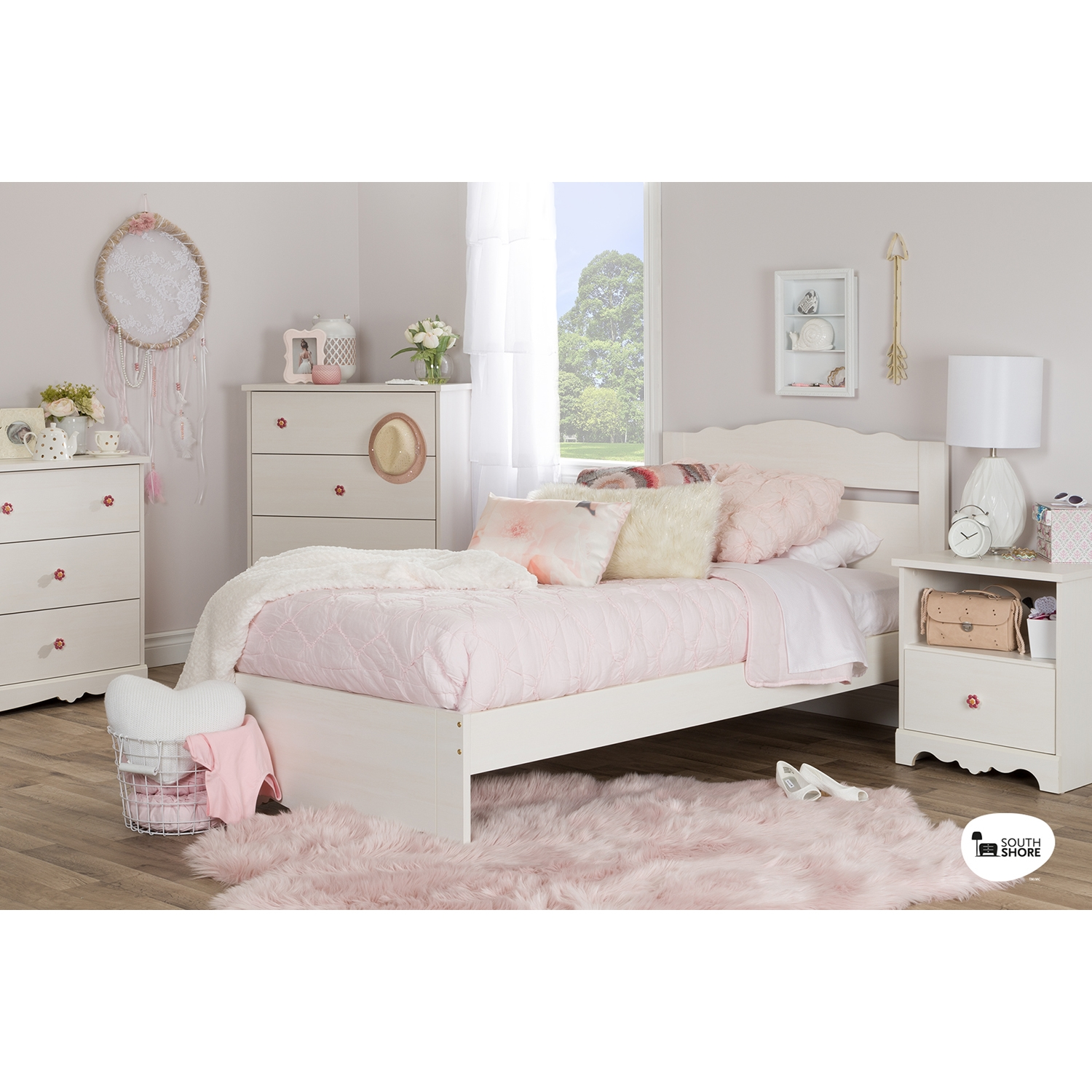 Lily Rose Twin Platform Bed - White Wash - SS-10075