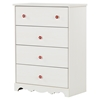 Lily Rose Chest - 4 Drawers, White Wash - SS-10077