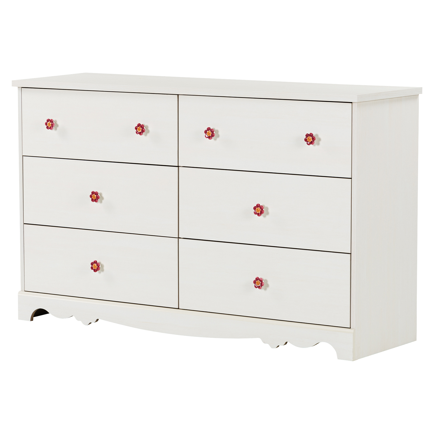 Lily Rose Double Dresser - 6 Drawers, White Wash - SS-10078