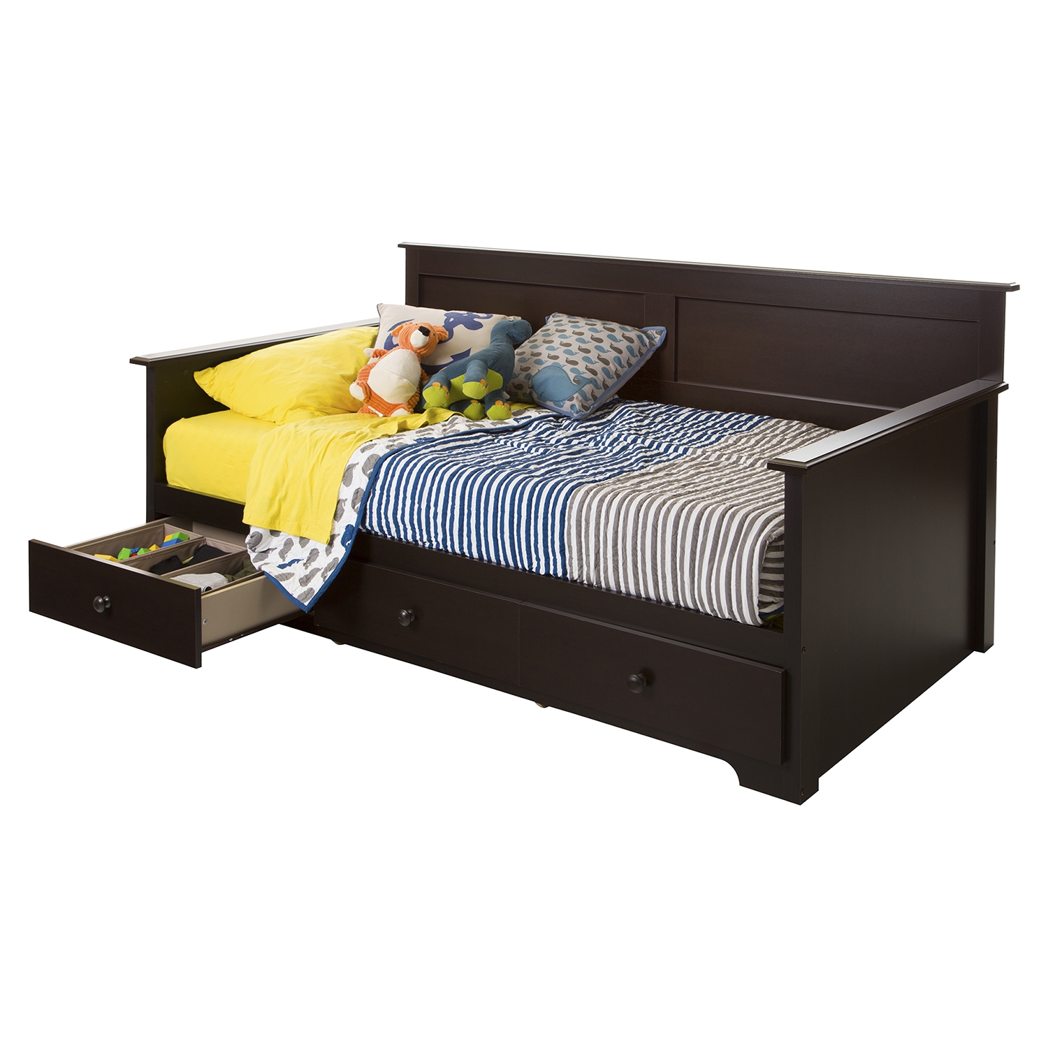 Summer Breeze Twin Daybed - 3 Drawers, Chocolate - SS-10079