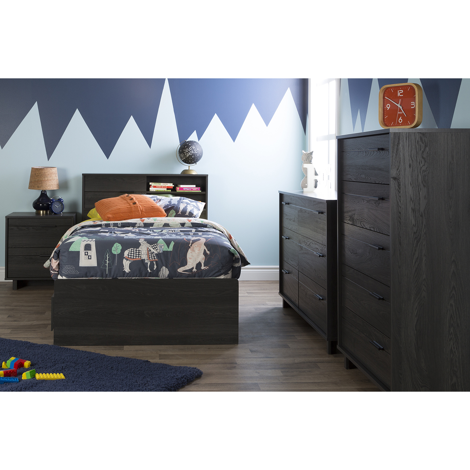 Fynn Twin Headboard - Storage, Gray Oak - SS-10091
