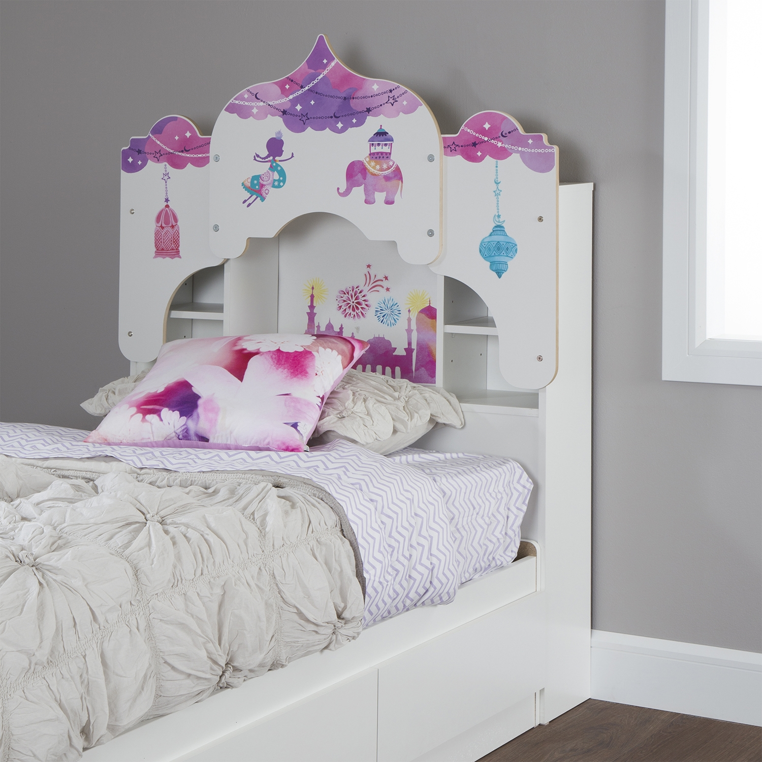 Vito Twin Bookcase Headboard with Decals - Royal Palace Theme, Pure White - SS-10099