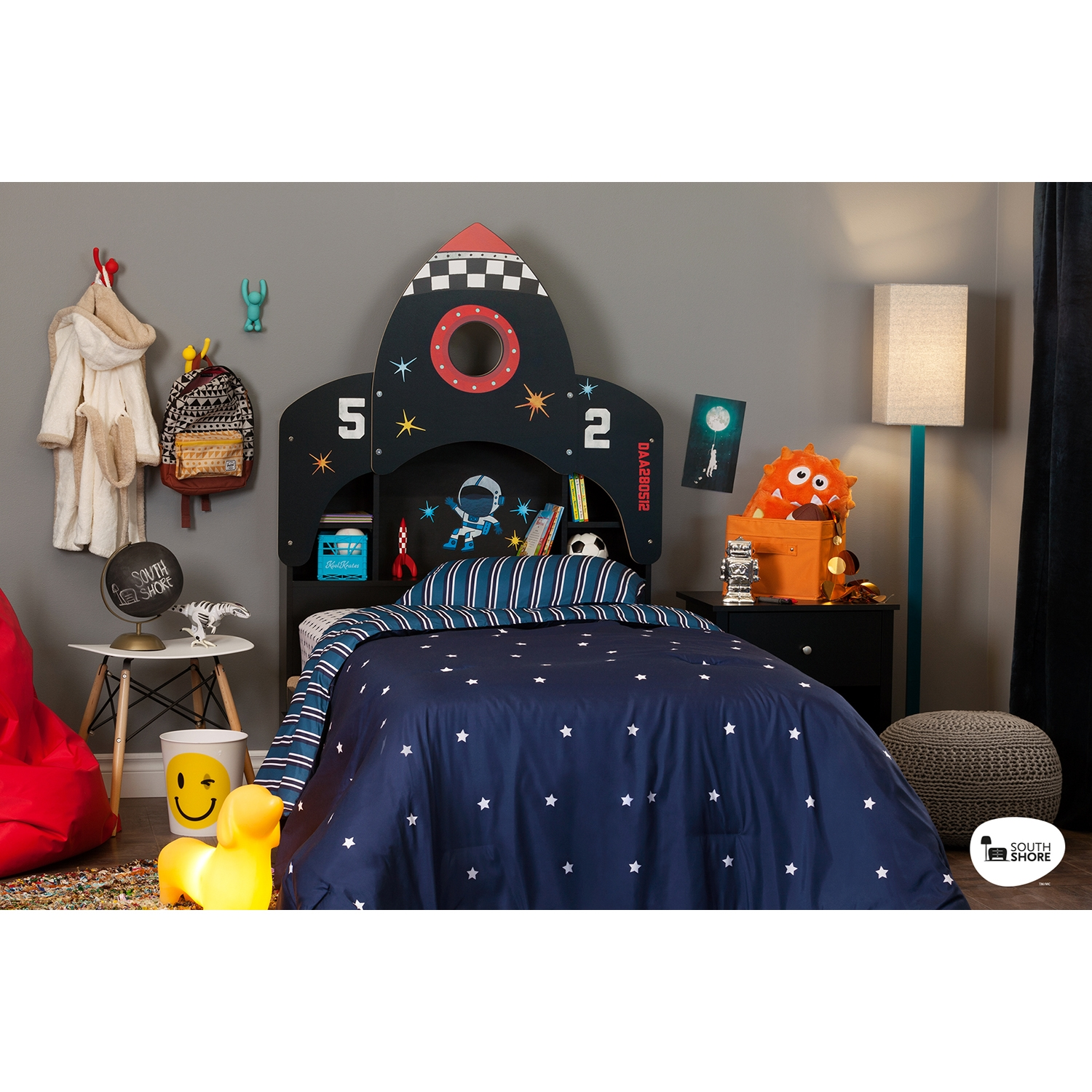 Vito Twin Bookcase Headboard with Decals - Space Rocket Theme, Pure Black - SS-10101