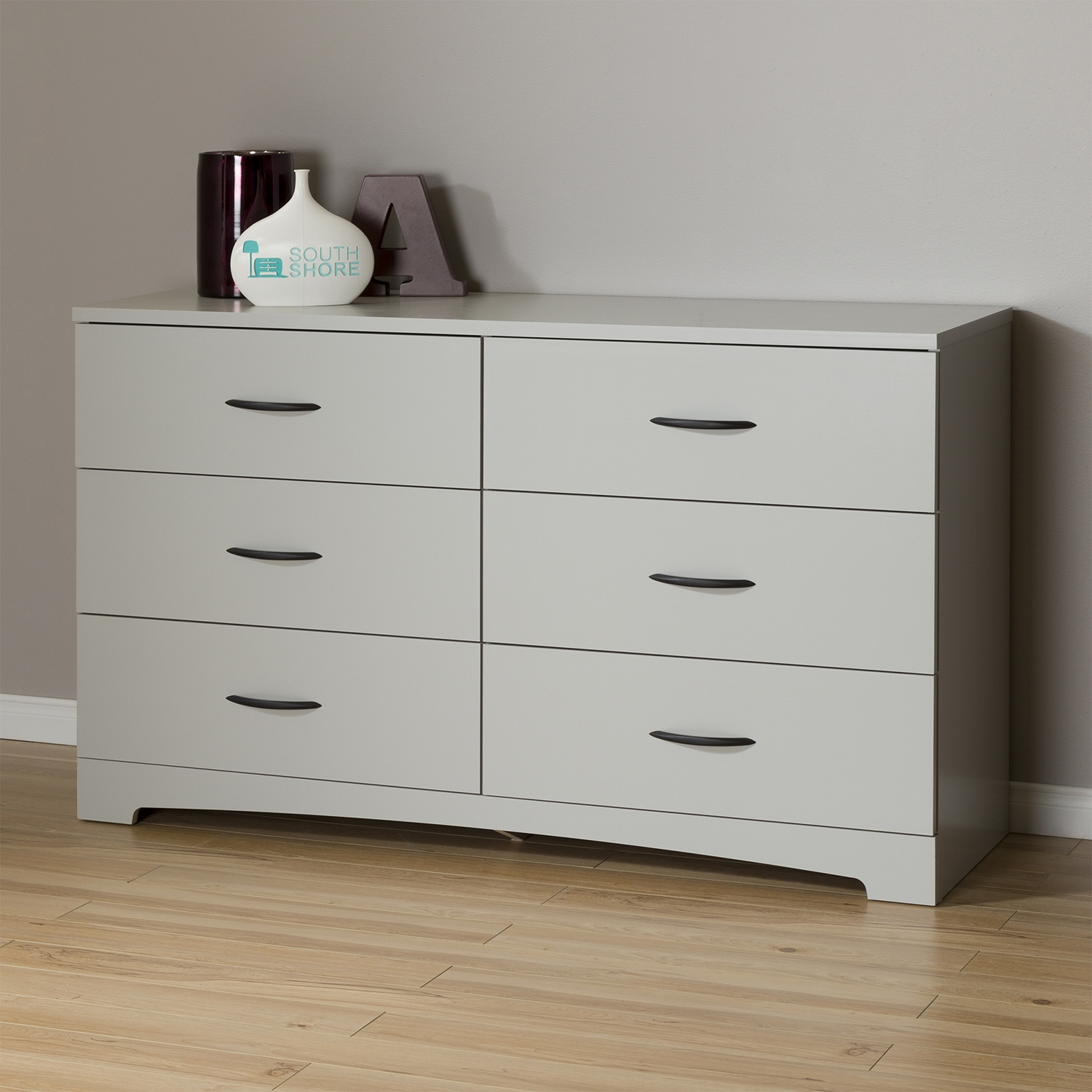 Step One Double Dresser - 6 Drawers, Soft Gray - SS-10105