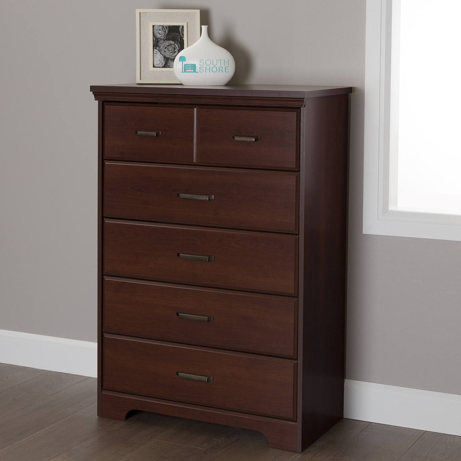 Versa 5 Drawers Chest - Royal Cherry - SS-10124