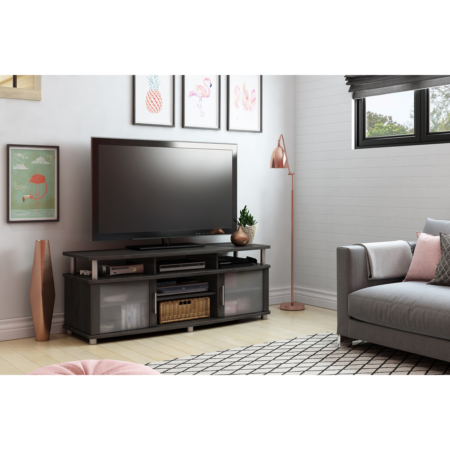 City Life TV Stand - Gray Oak - SS-10128