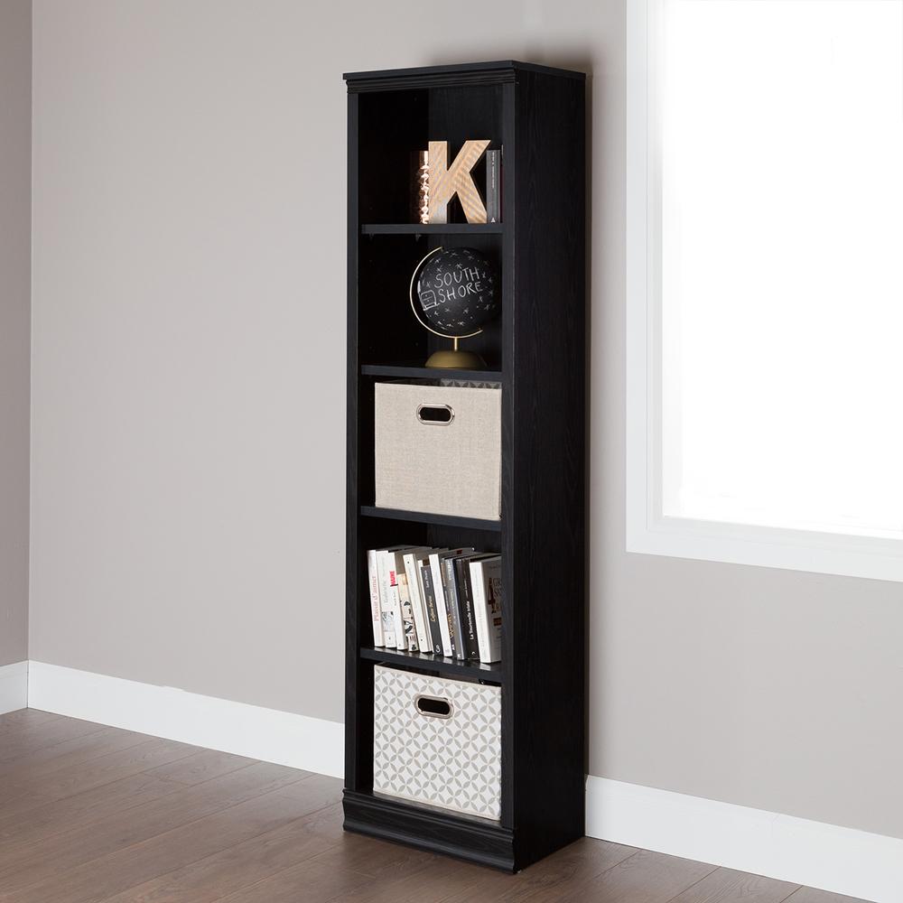 Office Chairs Walmart >> Morgan 5 Shelves Narrow Bookcase - Black Oak | DCG Stores