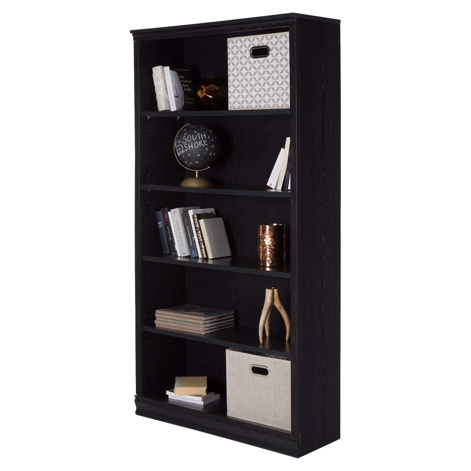 Morgan 5 Shelves Bookcase - Black Oak - SS-10142