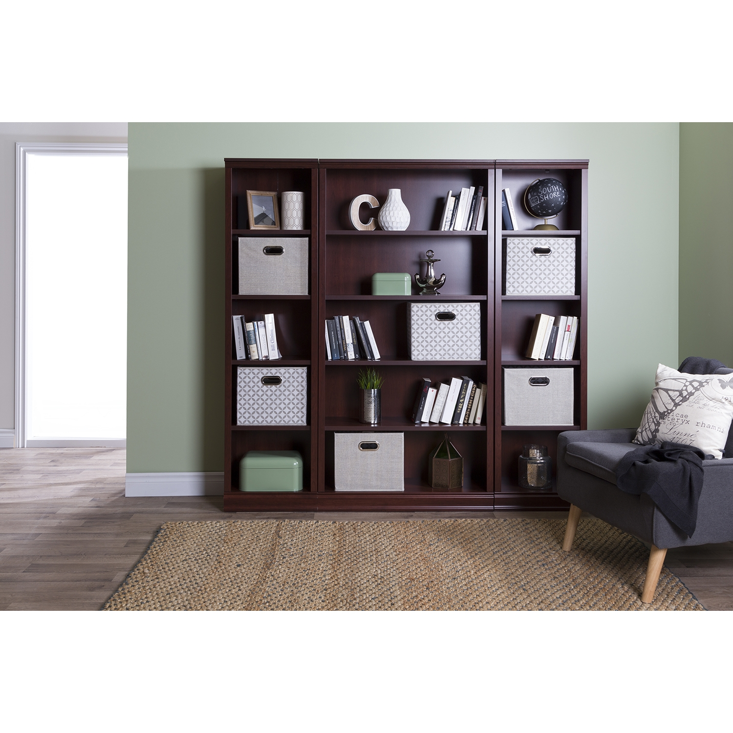 Morgan 5 Shelves Bookcase - Royal Cherry - SS-10150