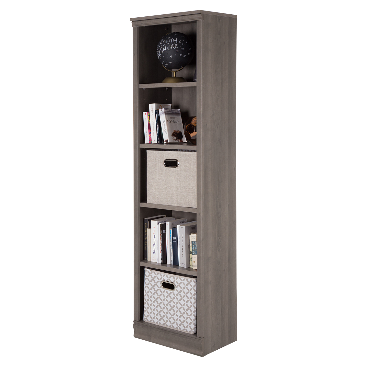 Morgan 5 Shelves Narrow Bookcase - Gray Maple - SS-10151