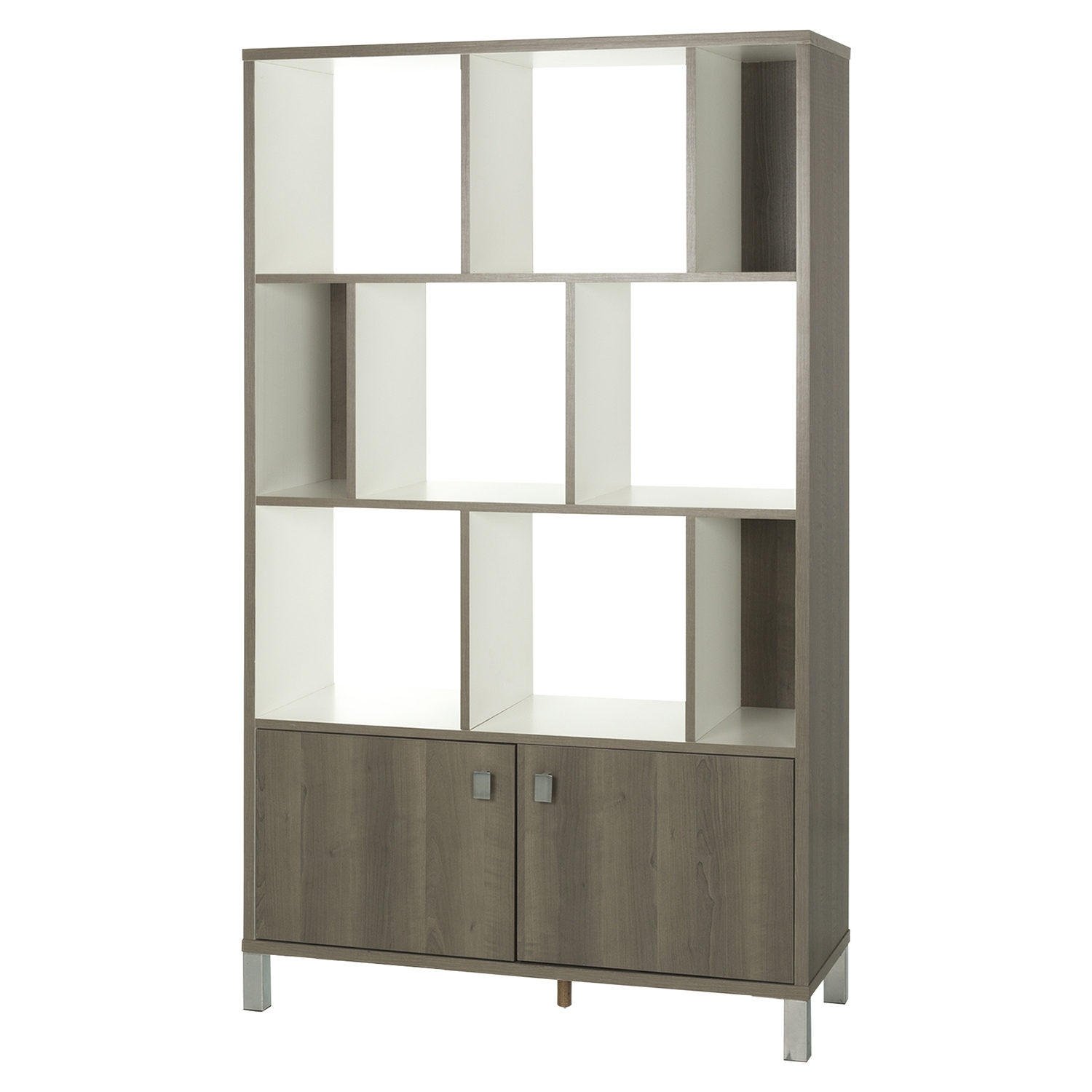 Expoz 9 Cubes Shelving Unit - Doors, Gray Maple, Pure White - SS-10170