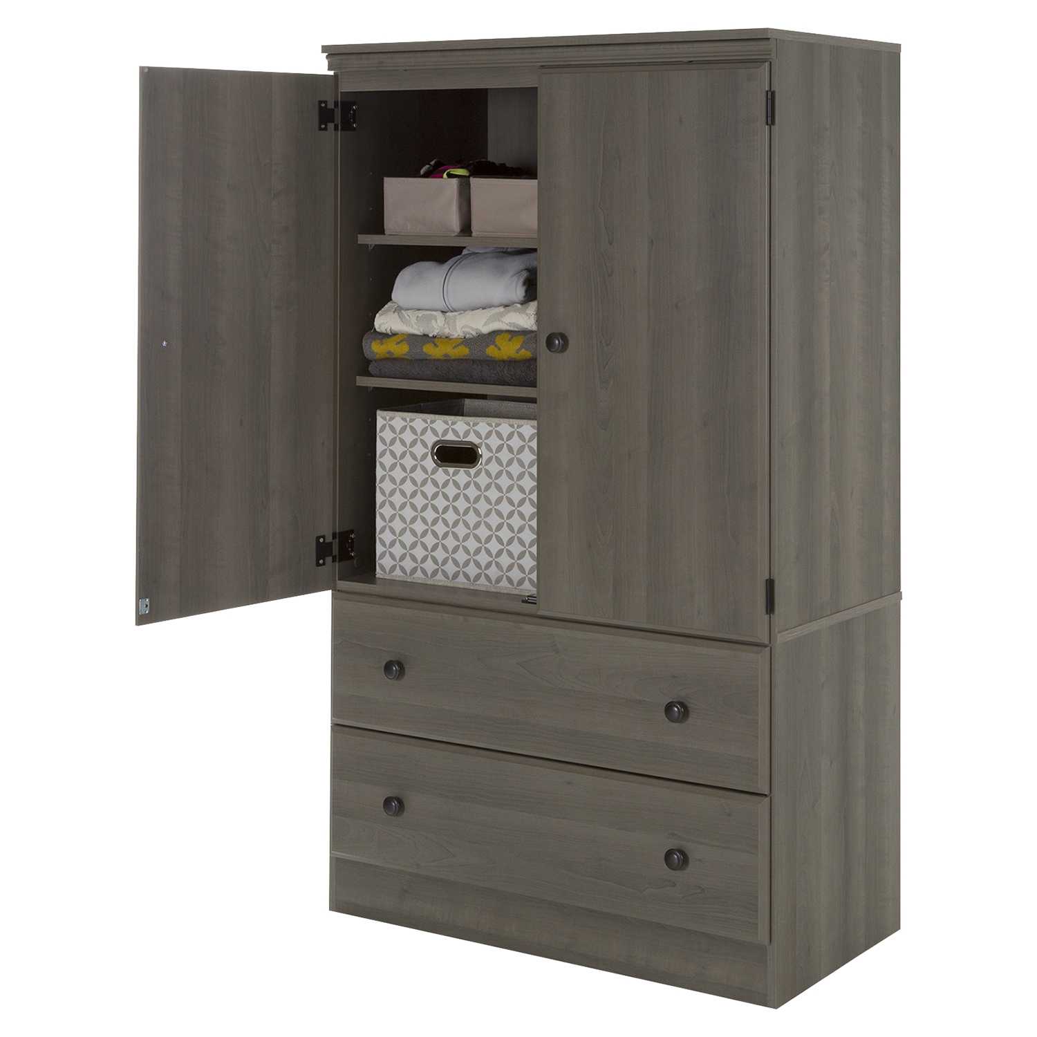 Morgan Armoire - 2 Doors, 2 Drawers, Gray Maple - SS-10173