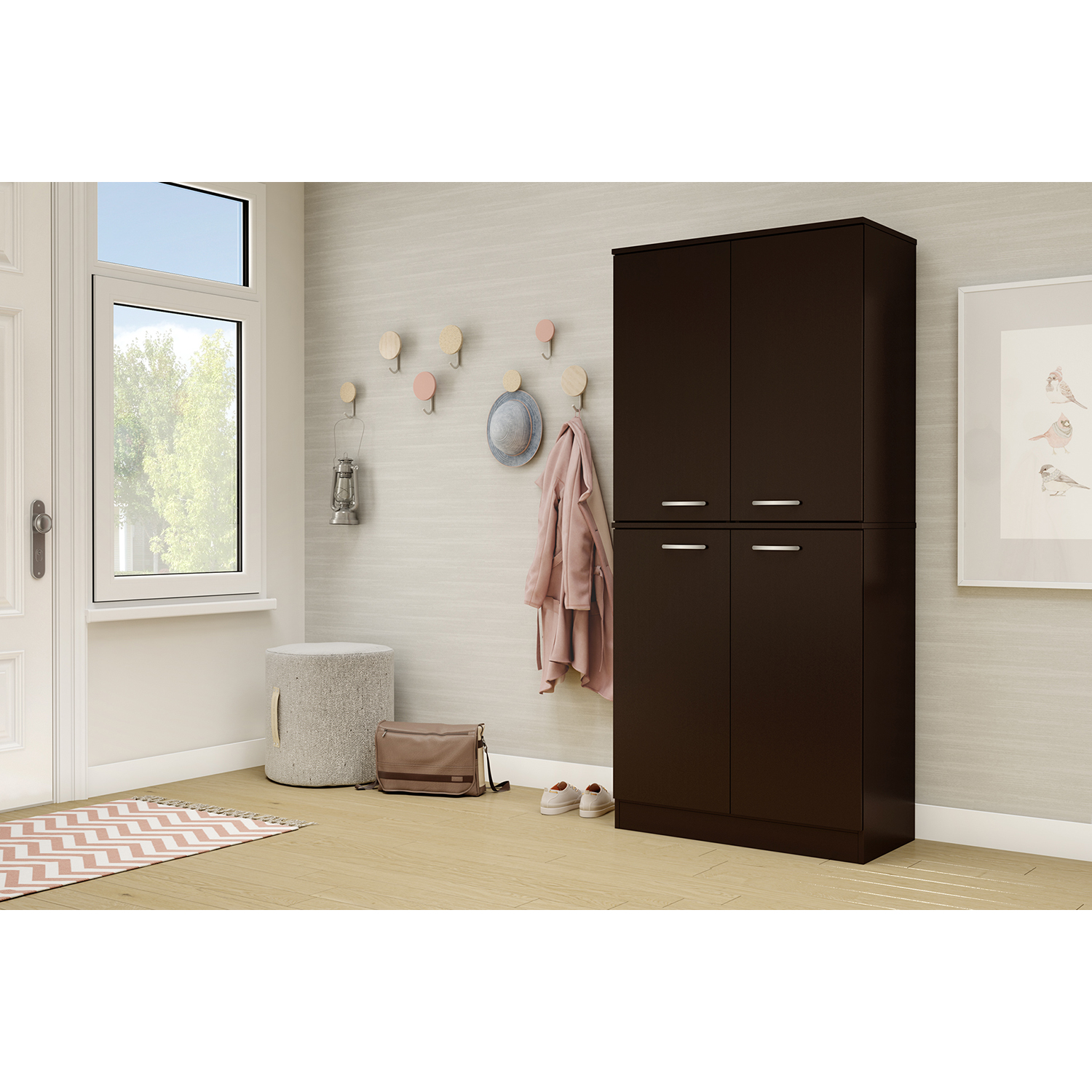 Axess Armoire - 4 Doors, Chocolate - SS-10181