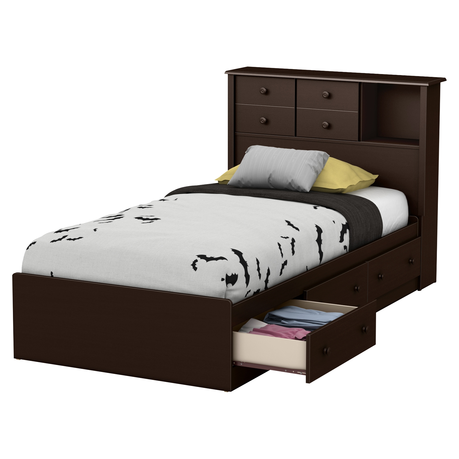 Little Smileys Twin Bookcase Headboard - 2 Sliding Doors, Espresso - SS-10200
