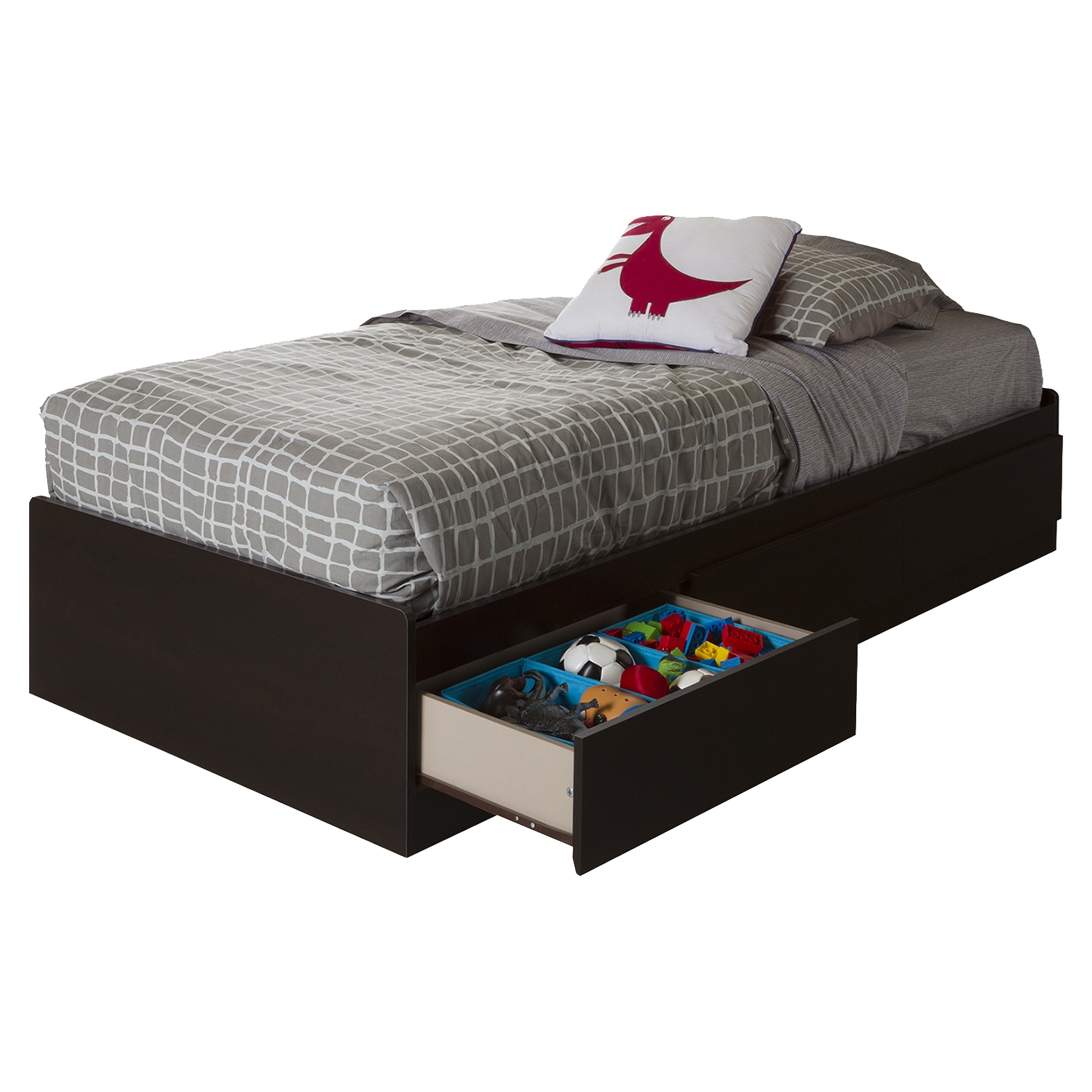 Vito Twin Mates Bed - 3 Drawers, Chocolate - SS-10204
