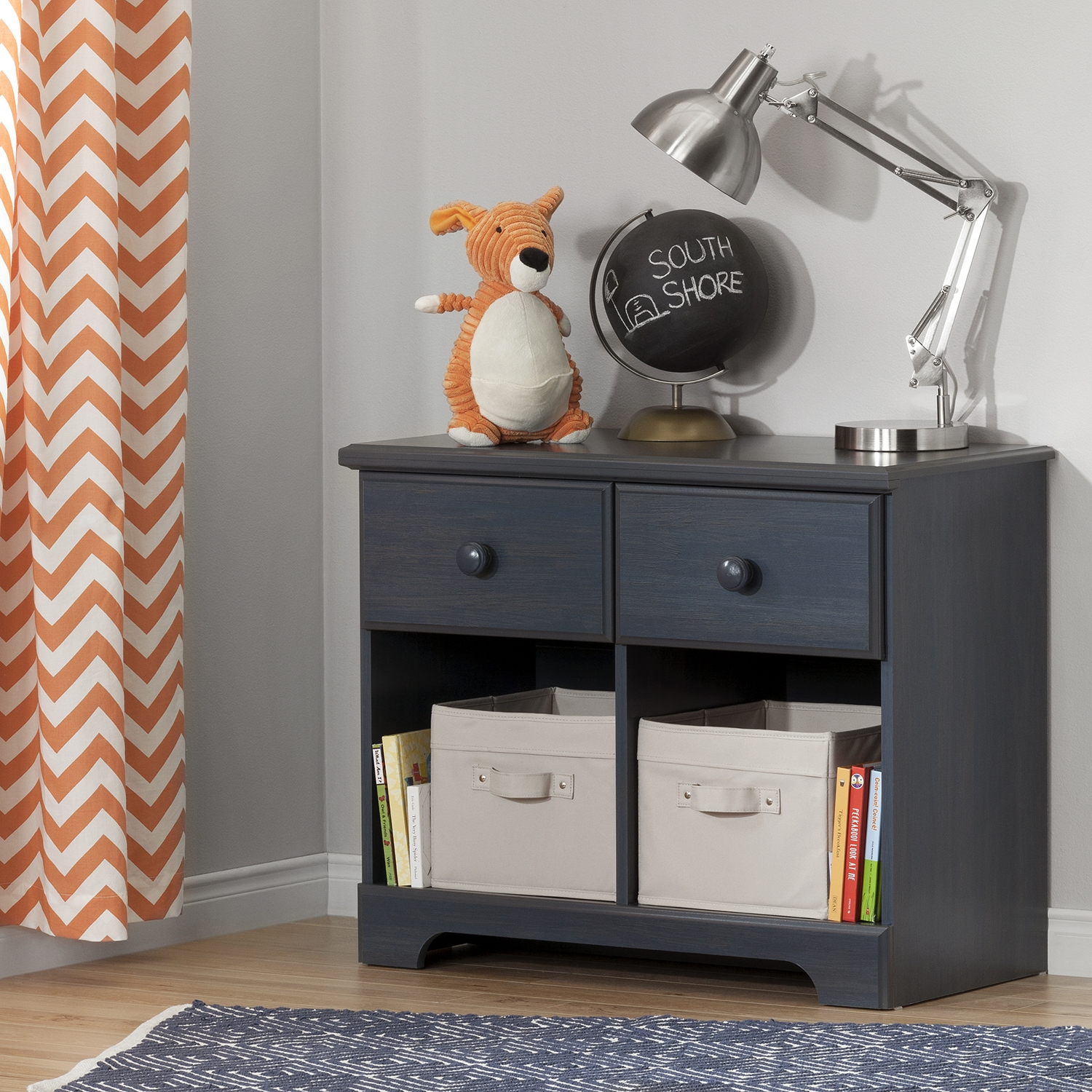 Summer Breeze 2 Drawers Double Nightstand - Blueberry - SS-10206