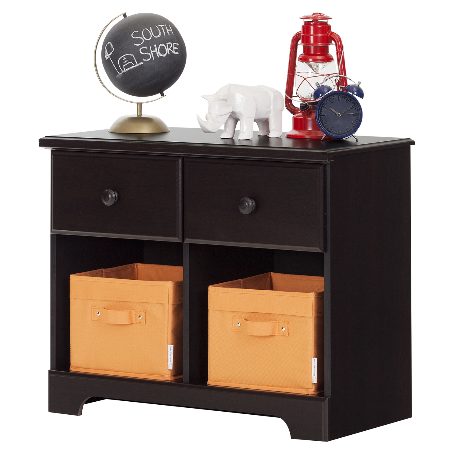 Summer Breeze 2 Drawers Double Nightstand - Chocolate - SS-10207