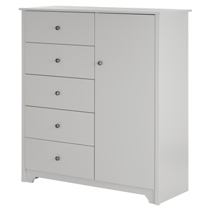 Vito Door Chest - 5 Drawers, Soft Gray