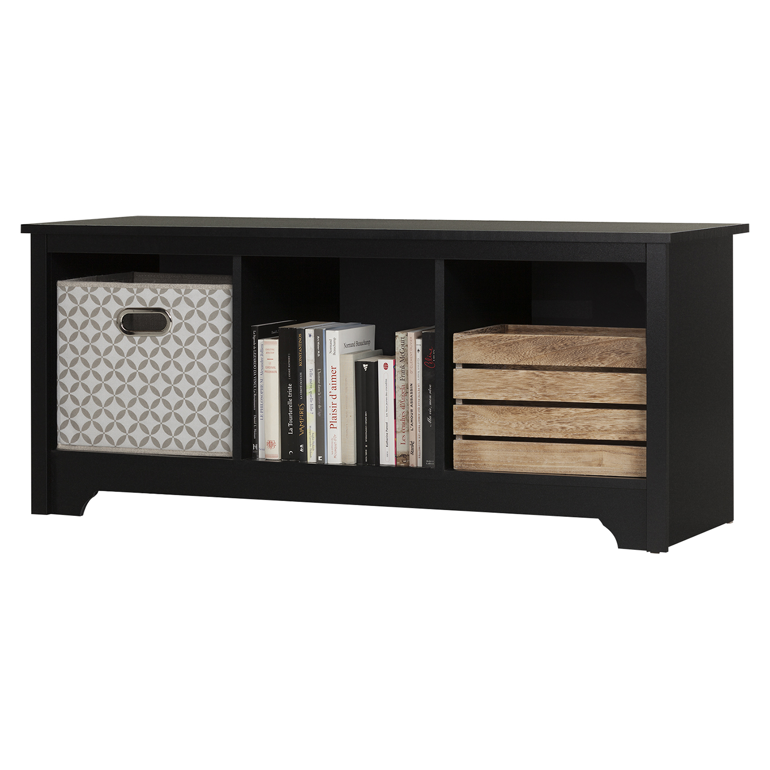Vito Cubby Storage Bench - Pure Black - SS-10330