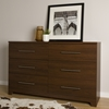 Primo 6 Drawers Double Dresser - Brown Walnut - SS-10333