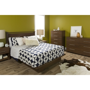 Primo Full/Queen Platform Bedroom Set - Drawer, Brown Walnut