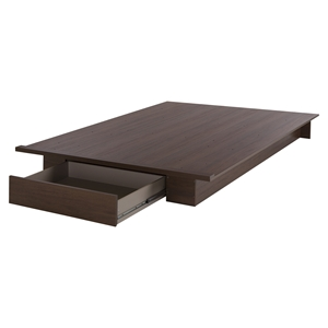 Primo Full/Queen Platform Bed - Drawer, Brown Walnut