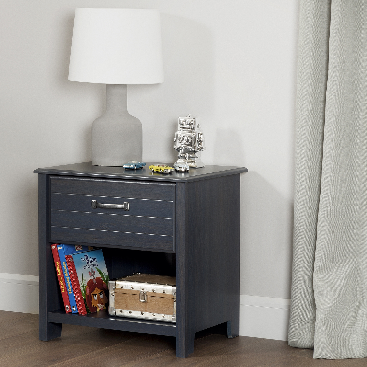 Ulysses 1 Drawer Nightstand - Blueberry - SS-10363