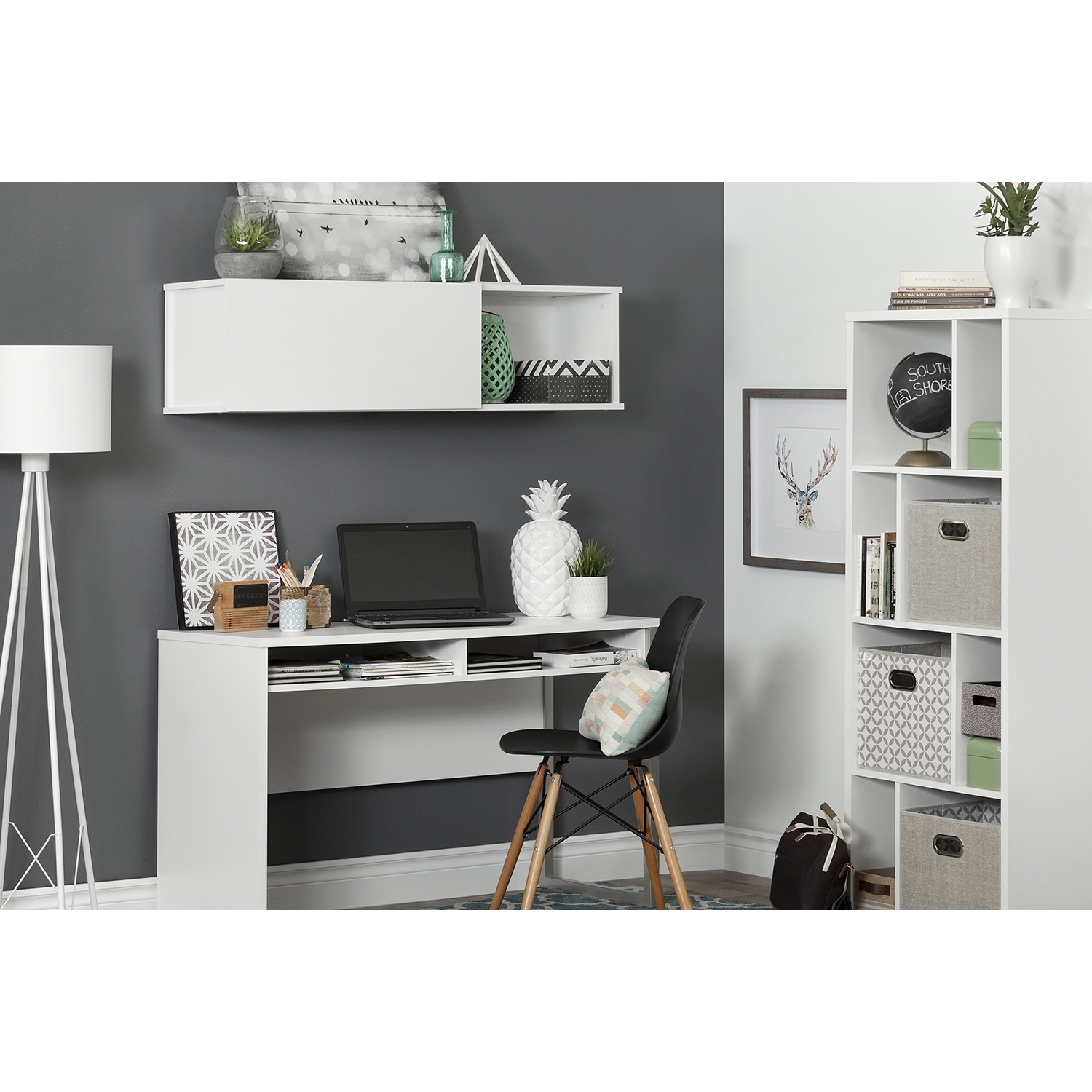 City Life Wall Mounted Storage Unit - Gray Maple - SS-10379