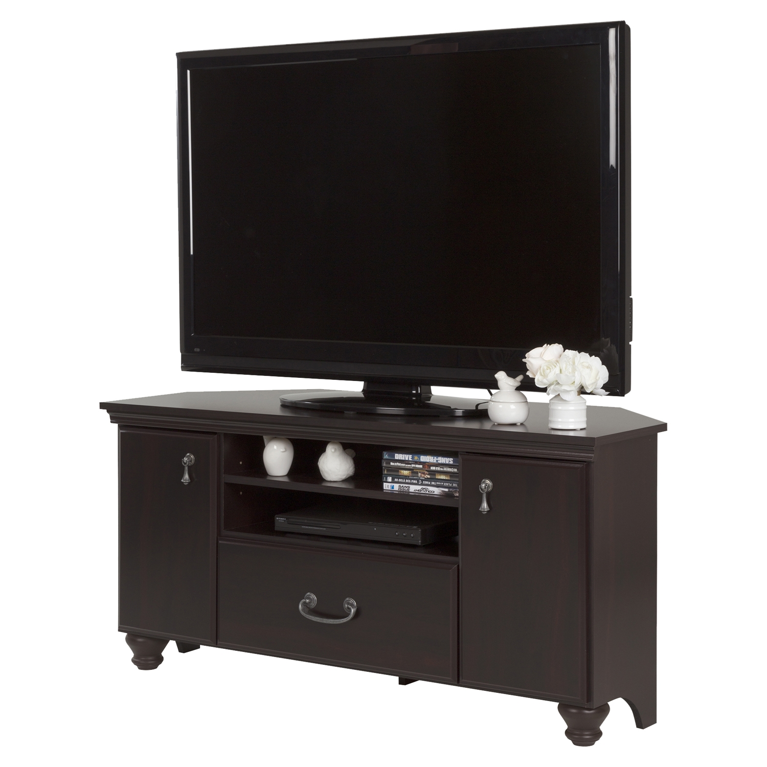 Noble Corner TV Stand - 2 Doors, 2 Shelves, Dark Mahogany - SS-10380
