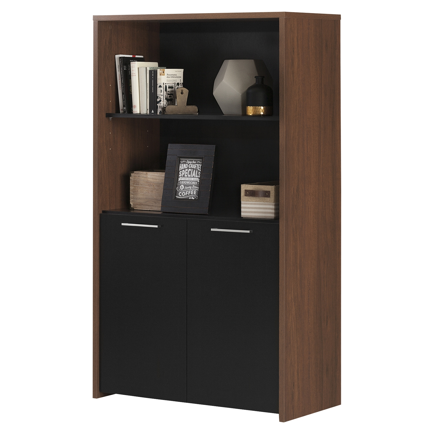 Tasko Storage Bookcase - 2 Doors, Brown Walnut, Pure Black - SS-10392
