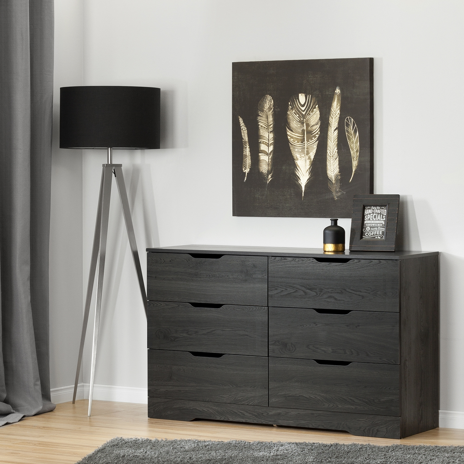 Holland Double Dresser - 6 Drawers, Gray Oak - SS-10395