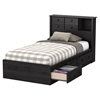Little Smileys Twin Bookcase Headboard - 2 Sliding Doors, Gray Oak - SS-10467