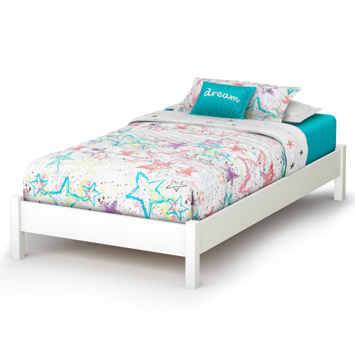 Libra contemporary twin white platform bed dcg stores for Basic twin bed frame