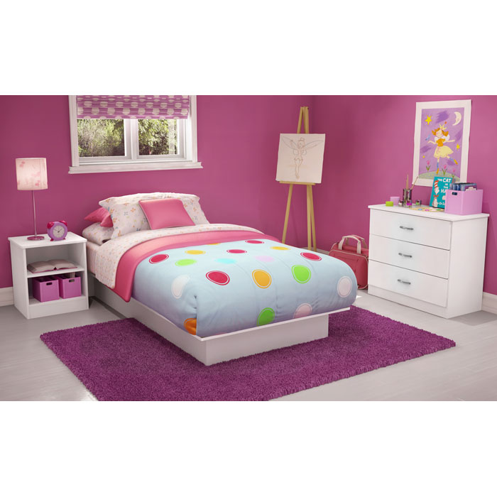 Libra Low Profile Twin White Platform Bed - SS-3050235