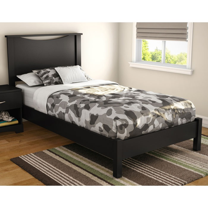 Libra Twin Black Platform Bed with Headboard