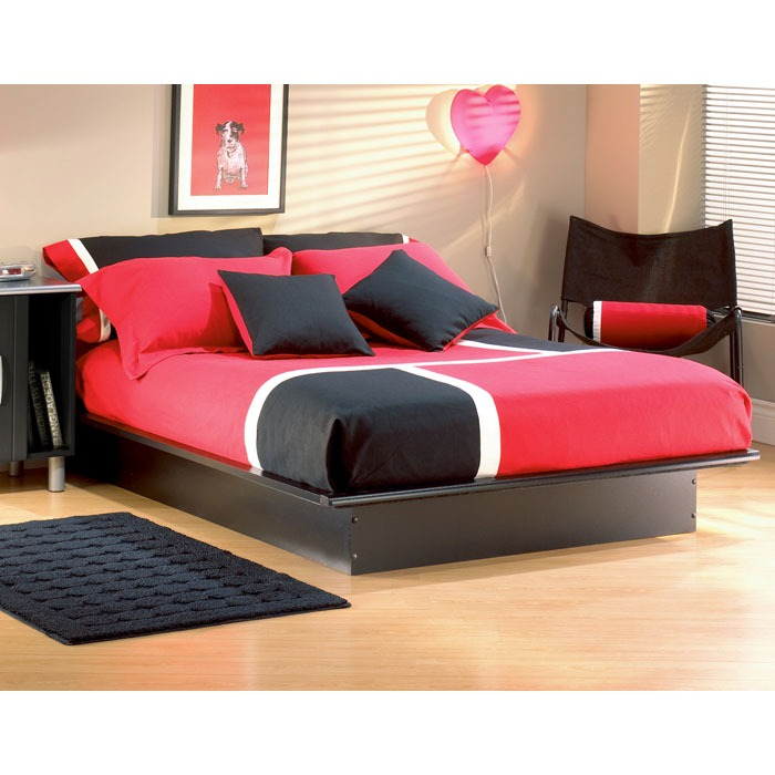 step one low profile platform bed in black dcg stores. Black Bedroom Furniture Sets. Home Design Ideas