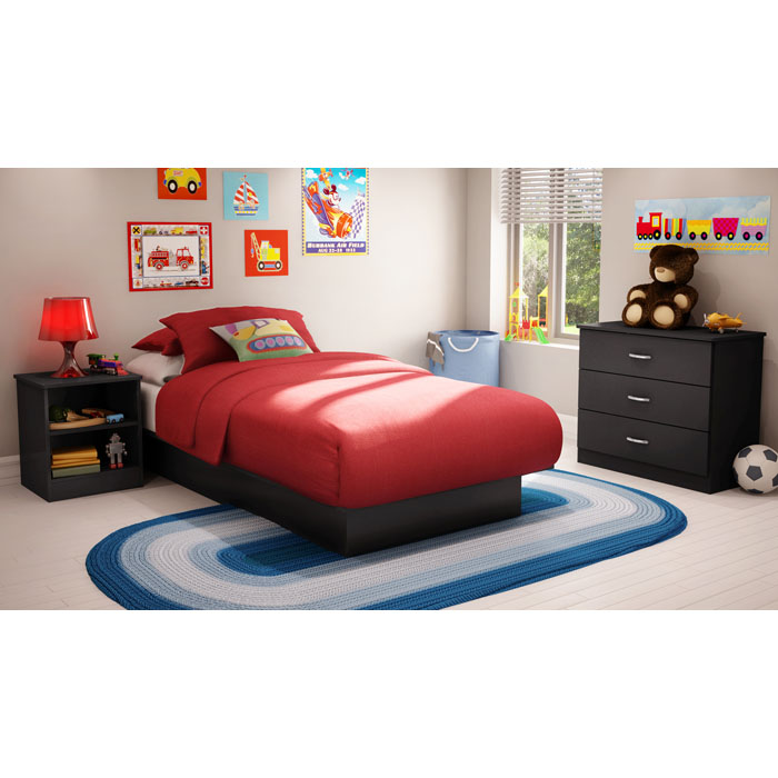 Libra Black Bedroom Set with Twin Bed - SS-3070-3PC-KIDS