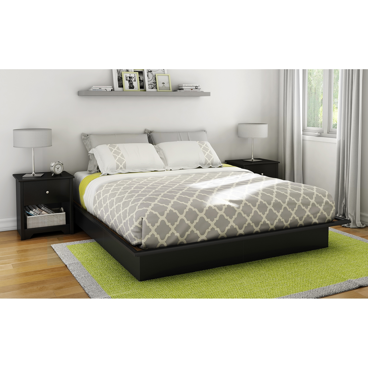Step One King Platform Bed with Mouldings - Pure Black - SS-3070248