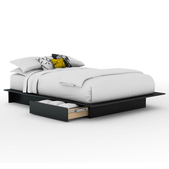 Step One Black Platform Bed with Storage