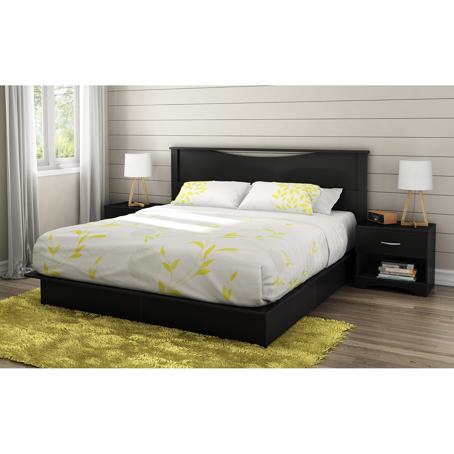 Step One King Platform Bed - 2 Drawers, Pure Black - SS-3107237